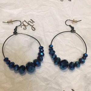 Jewelry - Blue hoop beaded earrings